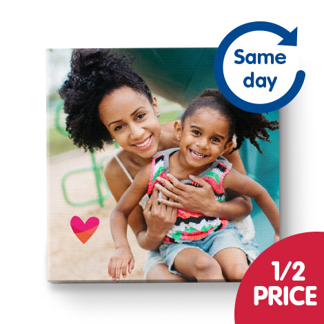 "Half price 12x12"" canvas on the Same Day Collect service"
