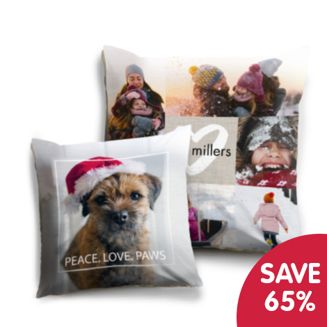 Save 65% on selected photo cushions!