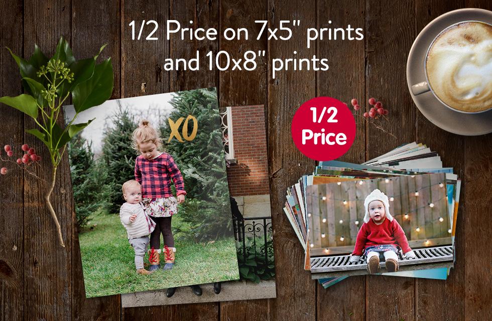 "1/2 Price on 7x5"" prints and 10x8"" prints"