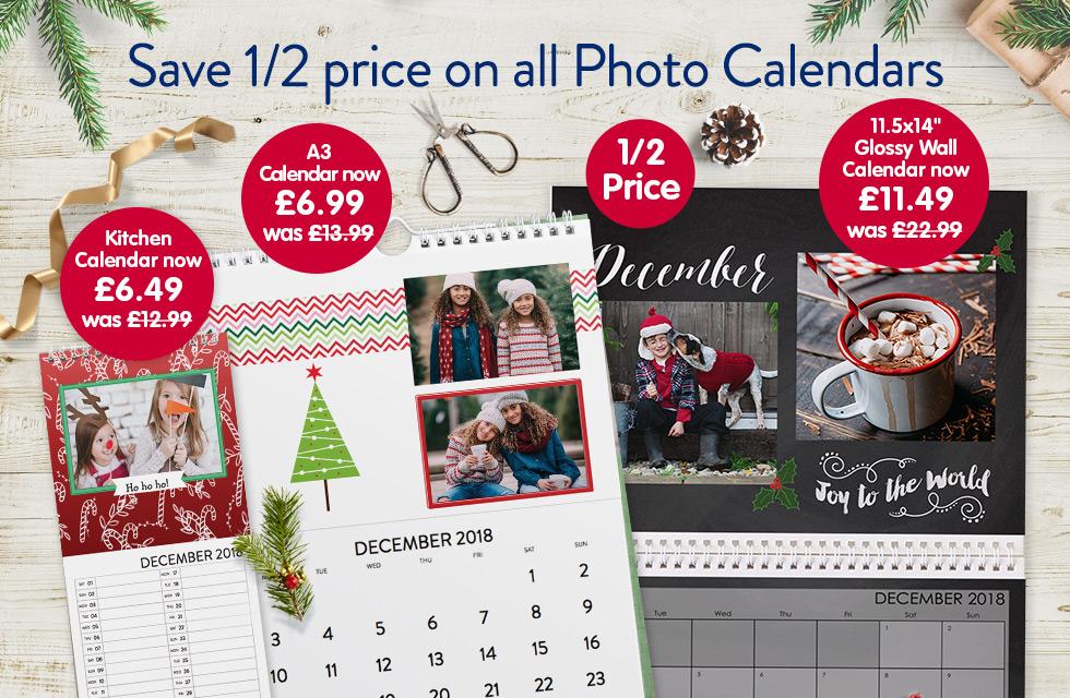 1/2 Price on all Photo Calendars