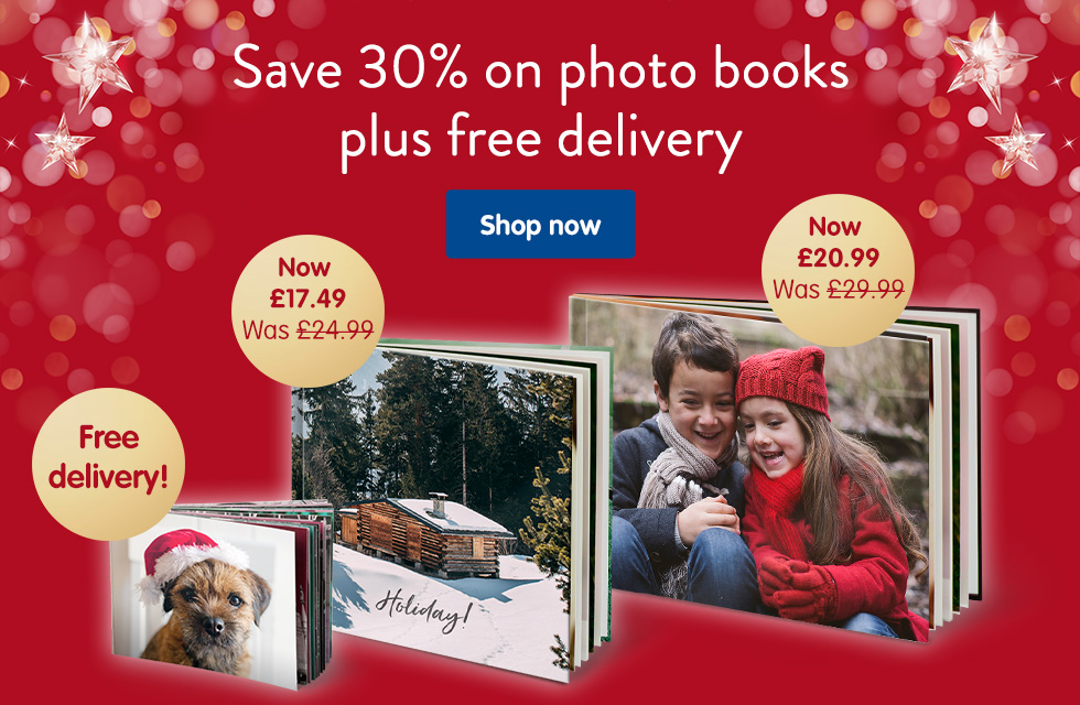 Save 30% on photo books plus free delivery