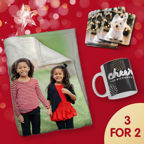 3 for 2 mix and match on photo gifts and wall art