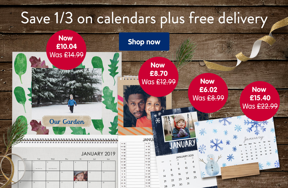 Save 1/3 on all calendars plus free delivery