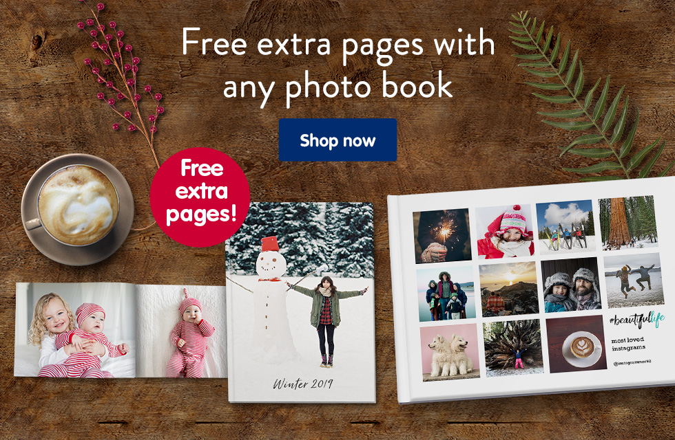 Free extra pages with any photo book
