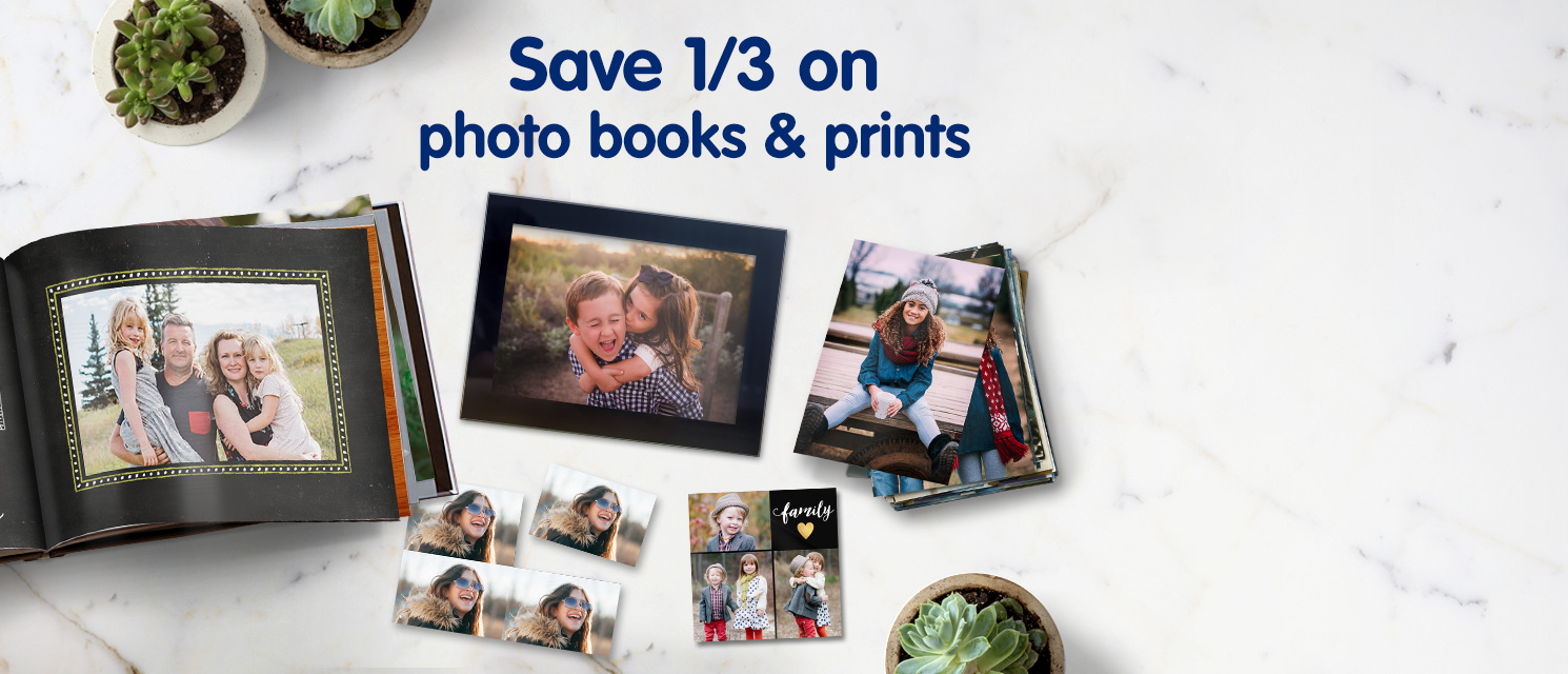 Save 1/3 on photo books and prints
