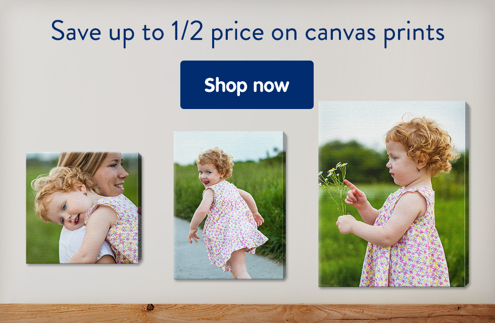 Save up to 1/2 price on canvas prints