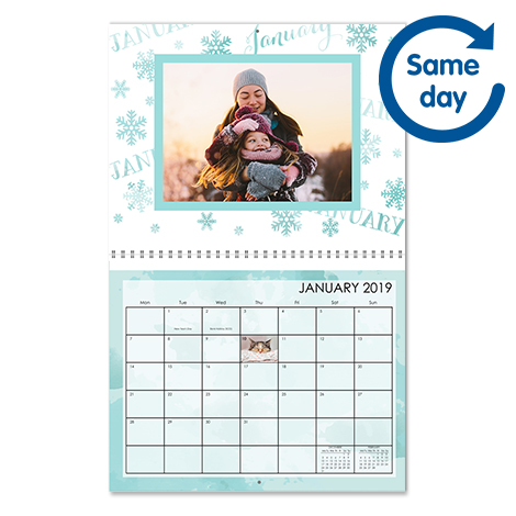 """A4 (11x8.5"""") Personalised Photo Wall Calendar"""