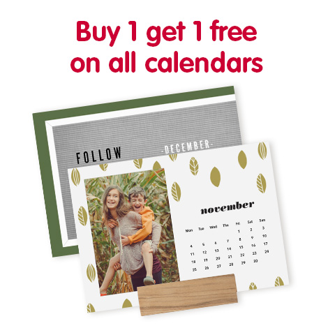 Buy 1 get 1 free on all calendars