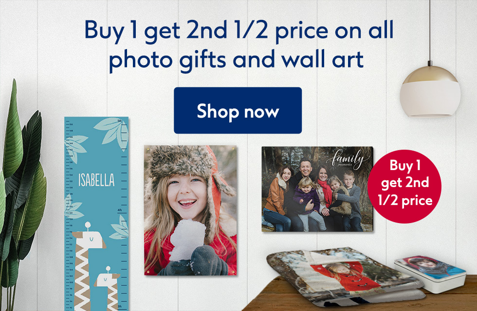 Buy 1 get 2nd 1/2 price on all photo gifts and wall art