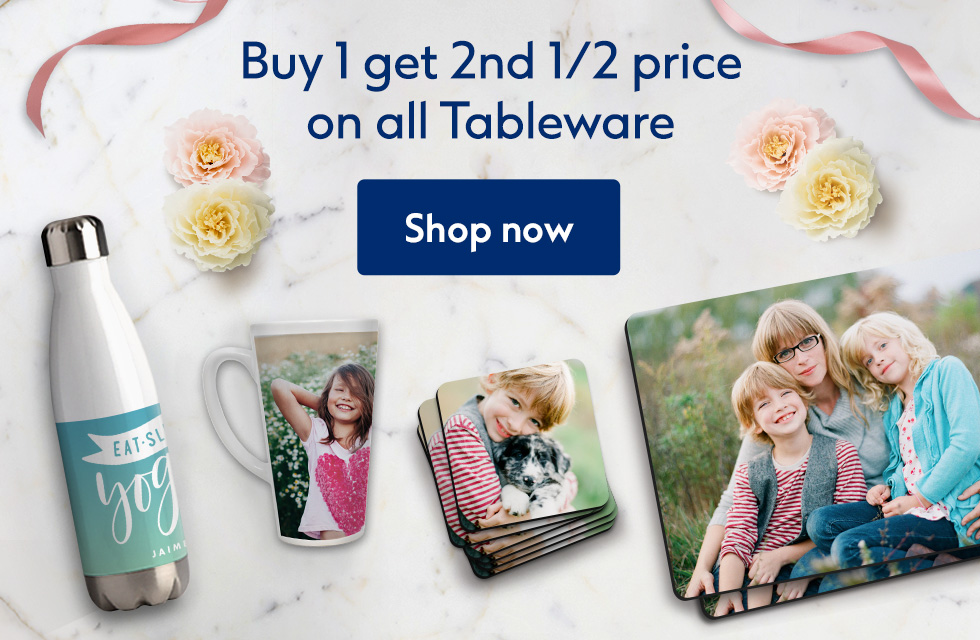 Buy 1 get 2nd 1/2 price on all tableware