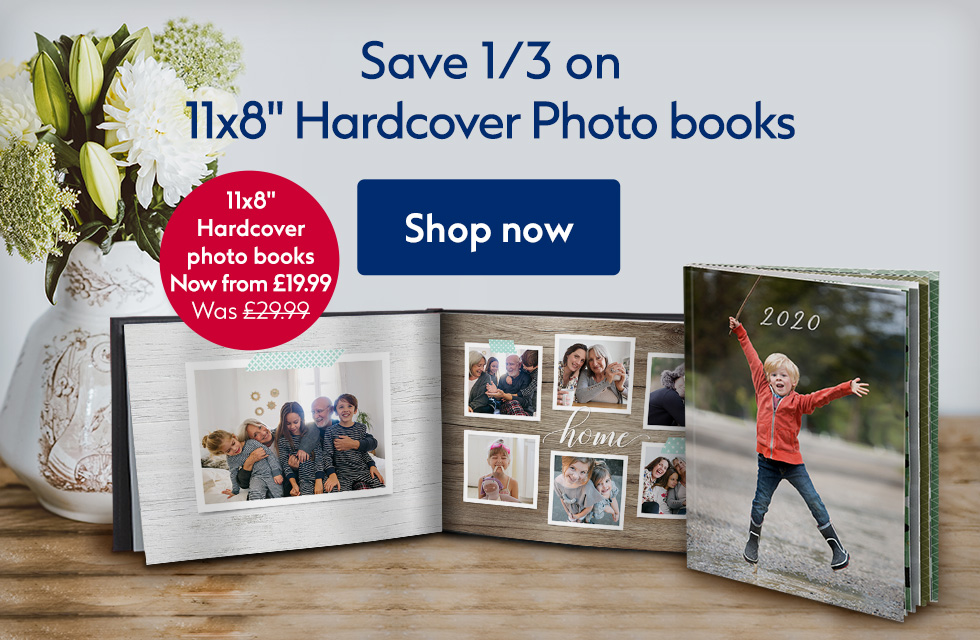 "Save 1/3 on 11x8"" hardcover photo books"