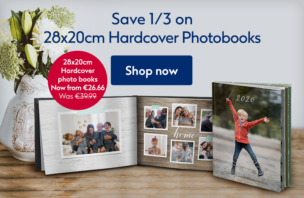 Save 1/3 on 28x20cm hardcover photo books