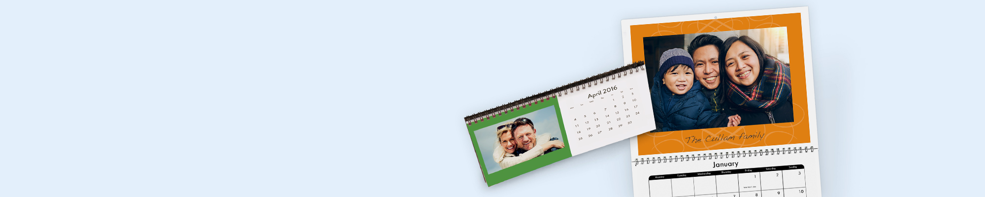 Photo Calendars Get organised and create a personalised calendar with your special dates and memorable photos. Choose from different styles including desk and various wall calendars. You can even start your calendar in any month of your choosing.