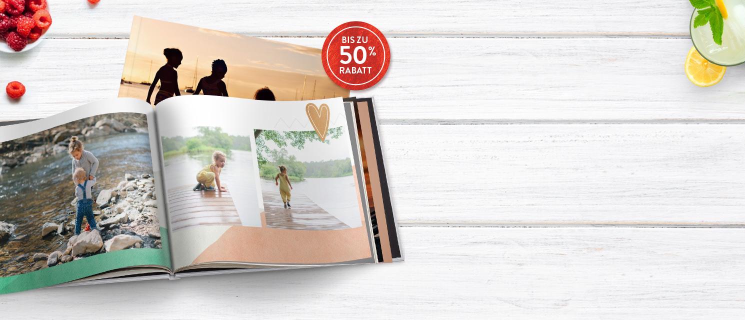 Bis zu 50% Rabatt auf Fotobücher