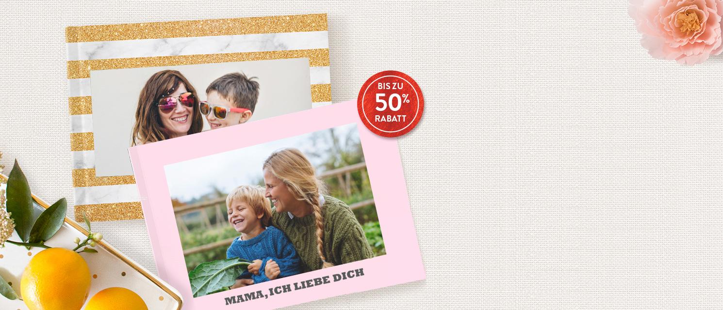 Bis zu 50% Rabatt auf Fotobücher  : -40% beim Kauf von 1-3  -50% beim Kauf ab 4  Gutscheincode: 50BOOK418