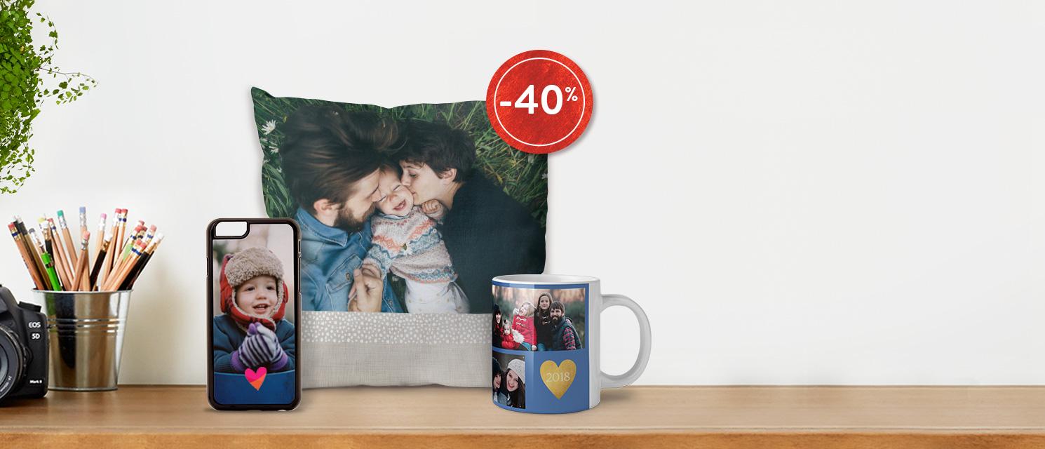 L'offre est prolongée : -40% sur les Cadeaux Photo, Déco Murale et MugsCode Promo : SPECIAL218