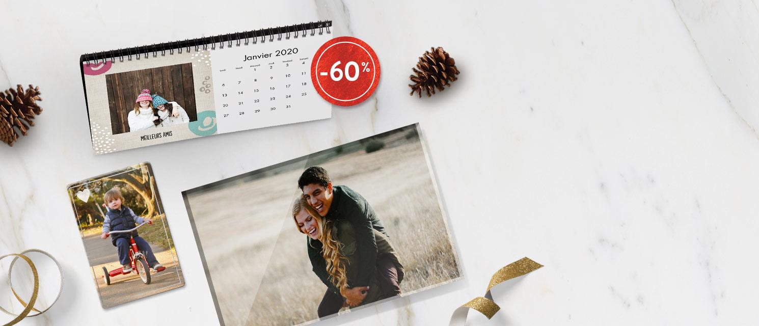 Créez un cadeau unique :  -60 Calendrier de bureau 12.5x25 cm -60% Acrylique Tirage Photo 20x30 cm -60% Aimant 5x7.5 & 10x15 cmPas de code nécessaire*