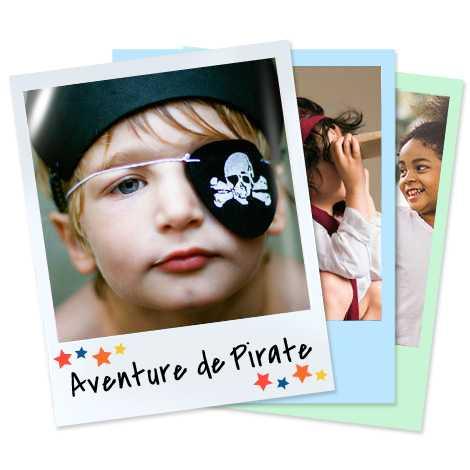 Ensemble de tirages rétros représentants un enfant déguisé en pirate et d'autres enfants.