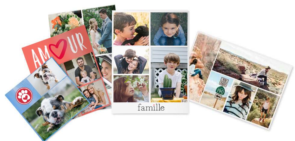 Photos de formats différents représentant la famille, l'amour, les animaux et les voyages.