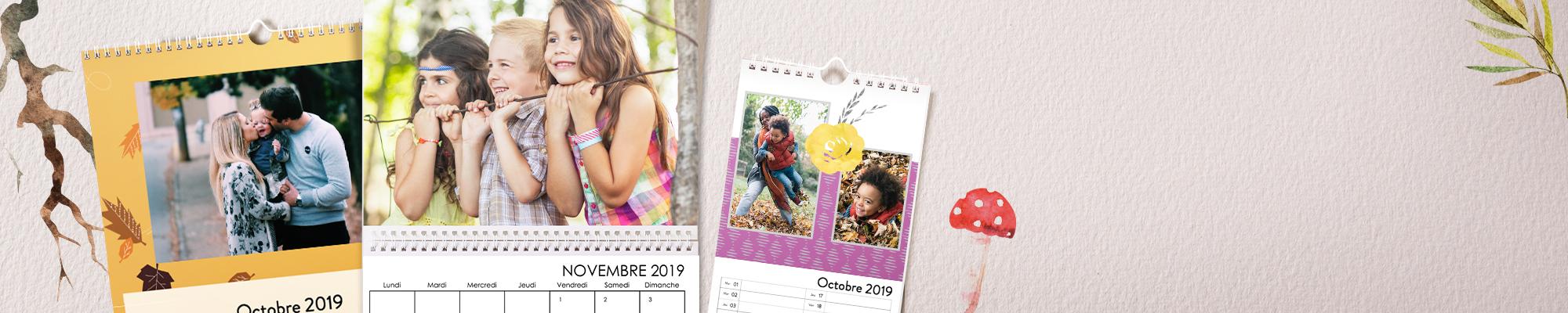 Calendriers personnalisés 2019 Pendant 365 jours profitez de vos plus belles photos personnalisées avec nos nouveautés : polices, designs et arrière-plans.