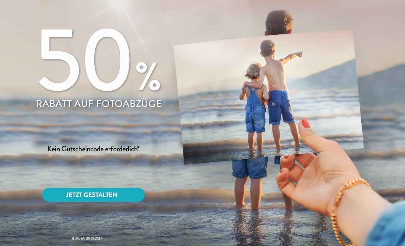 50 % Rabatt auf Fotoabzüge