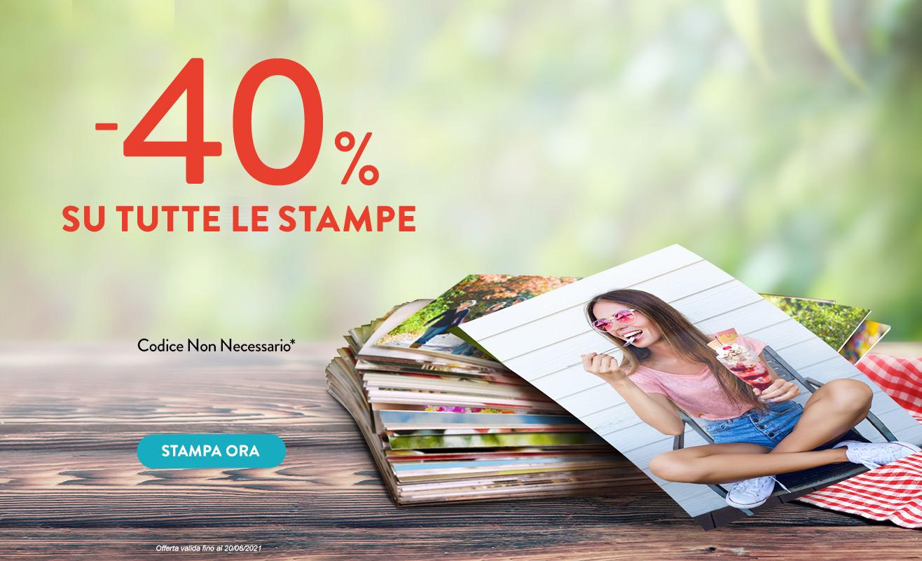 Sconto del 40% sulle Stampe