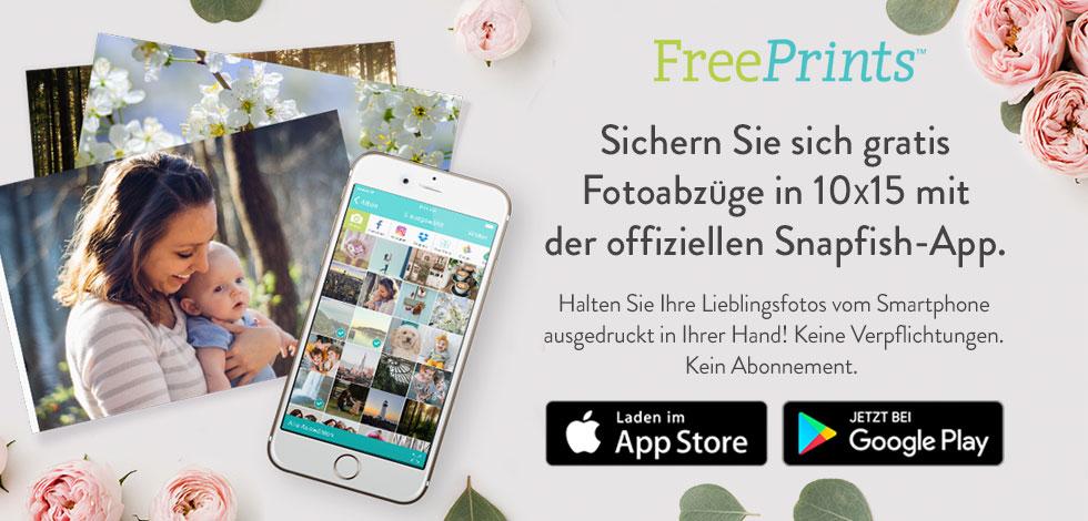 Handy- und Fotodrucke auf blauem Hintergrund