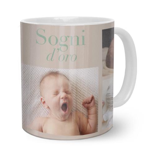 Tazza personalizzata con collage foto di neonato e scritta sogni d'oro