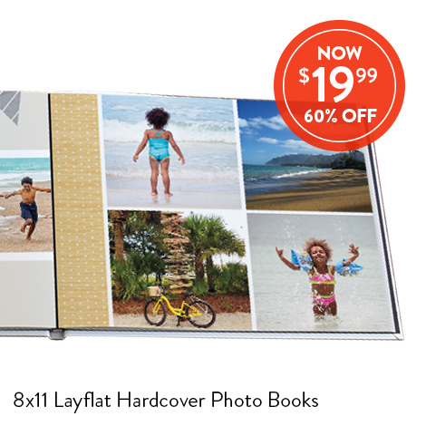 8x11 Layflat Hardover Photo Books for $19.99 EA., Reg. $49.99 EA.