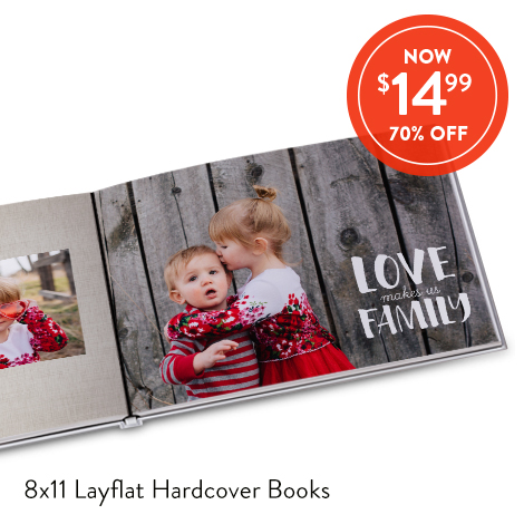 8x11 Layflat Hardcover Photo Books for $14.99 EA., Reg. $49.99