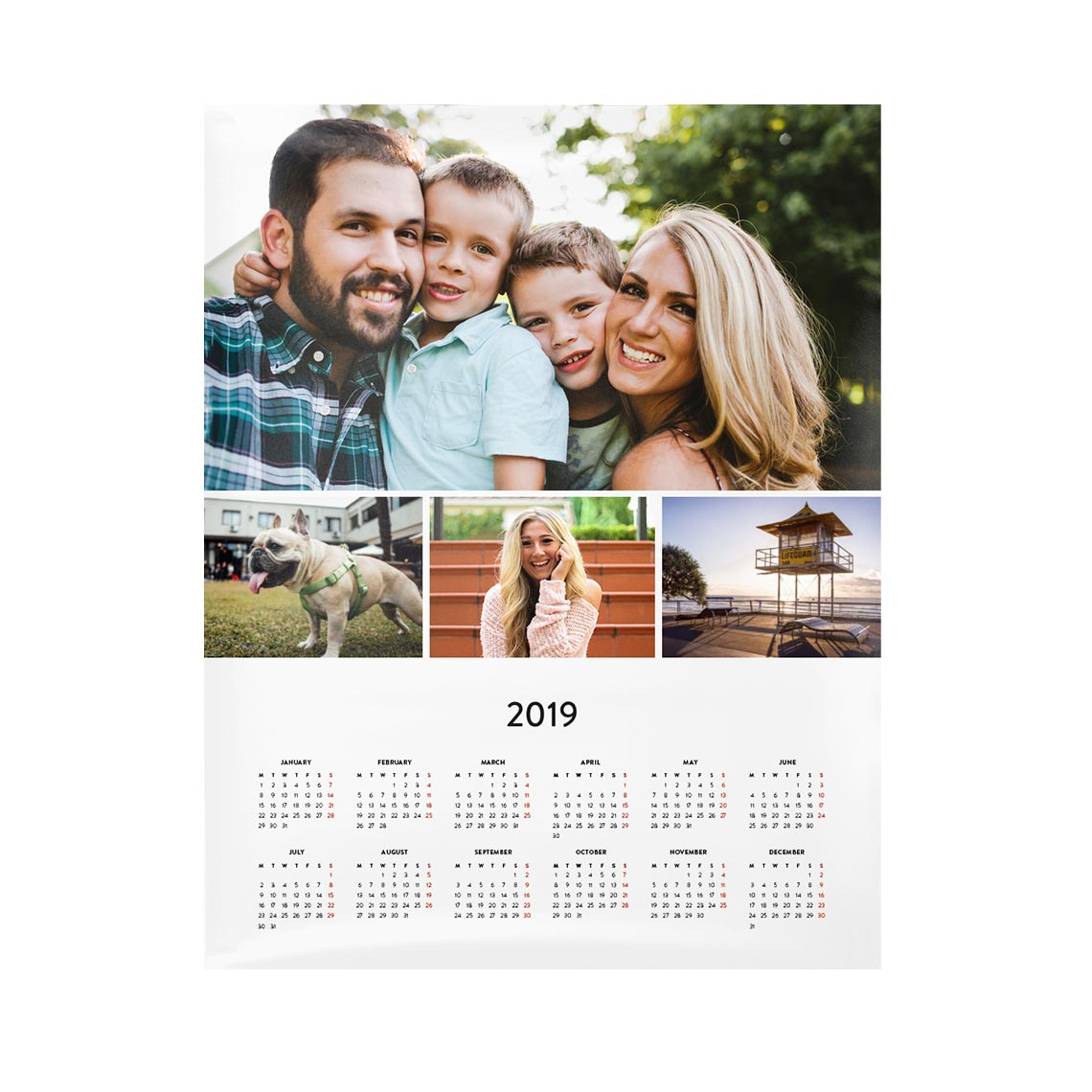 A calender with image of family.