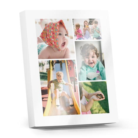 Premium Collage Photoblocks (metallic - white)