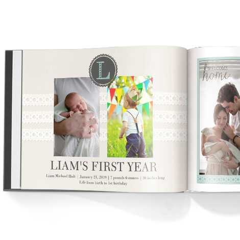 Photo book. Baby boy first year theme