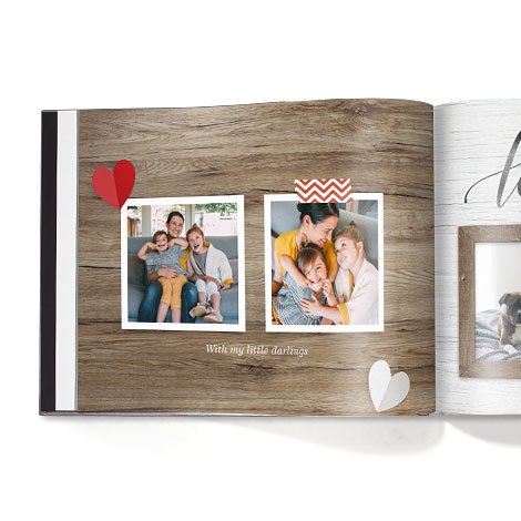 FAMILY FARMHOUSE an image of a book with love hearts and a rustic background