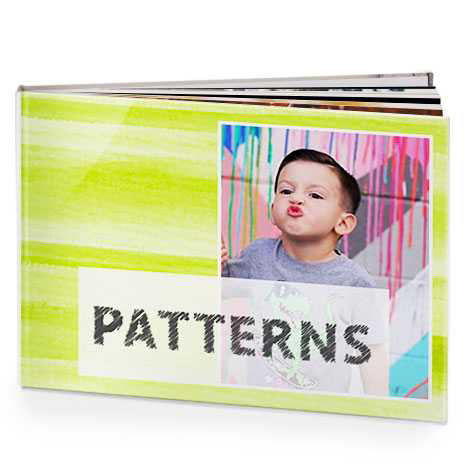 Photo books with patterned backgrounds