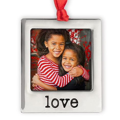 Silver Plate Love Photo Ornament
