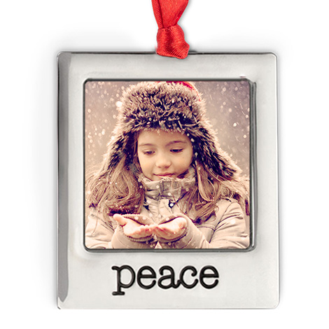 Icon Silver Plate Peace Photo Ornament