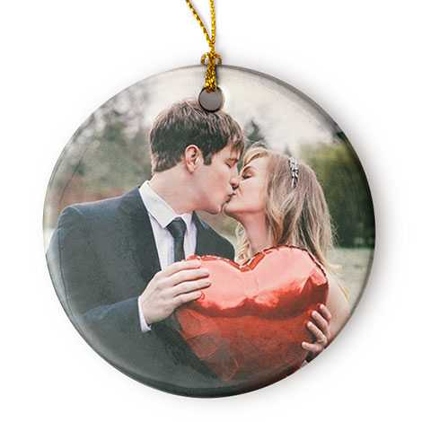 Icon Porcelain Round Christmas Photo Ornament