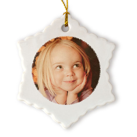 Porcelain Star Christmas Photo Ornament