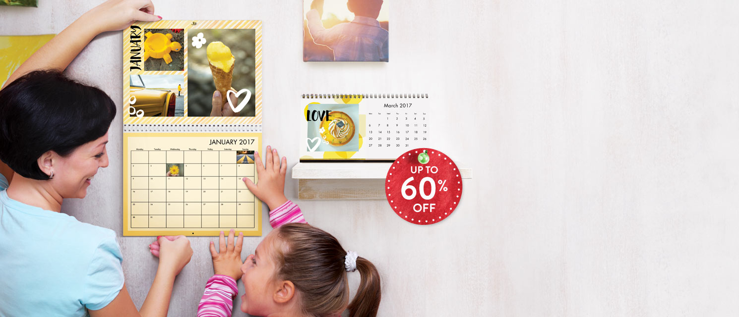 Up to 60% off Calendars! : Get 60% off A4 & A5 Classic Calendars.Get up to 50% off all Calendars.