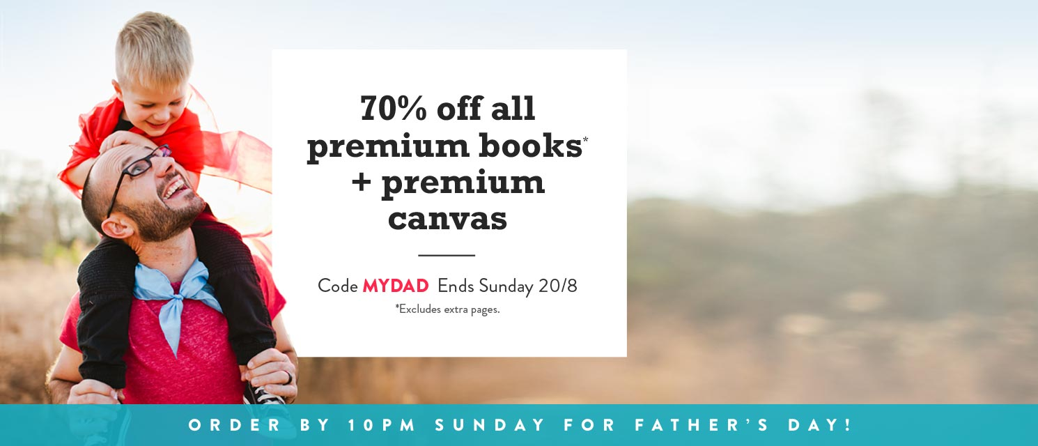 Super Dad, Super Deals : Dad deserves the best. Give him a premium book or canvas print for Father's Day.