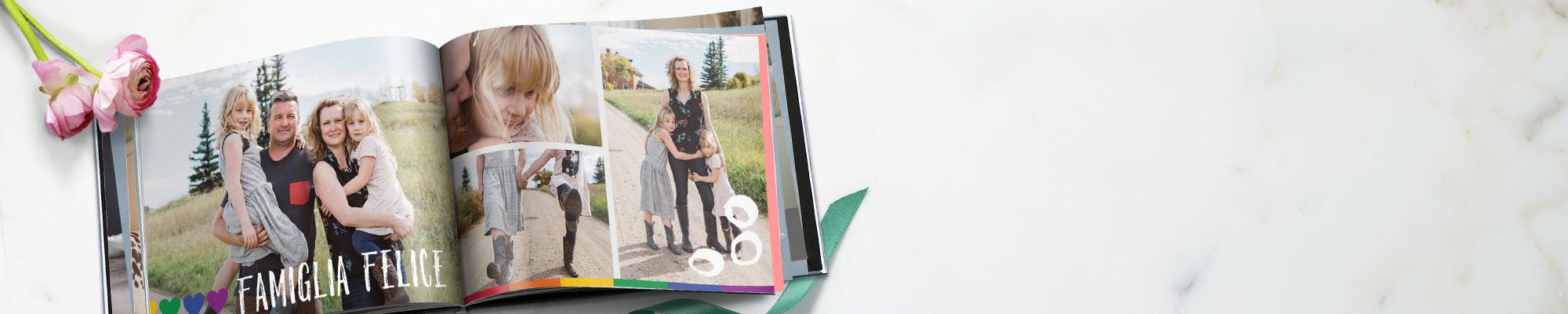 FotoLibri Racconta la tua storia con un fotolibro: una vacanza, un compleanno, una festa in famiglia... momenti speciali.