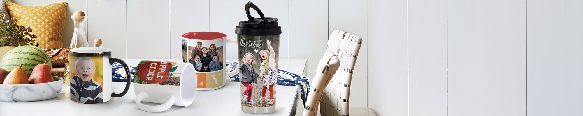 Photo Mugs Perfect for a morning cuppa, our range of personalised mugs make a cute gift for the one you love.