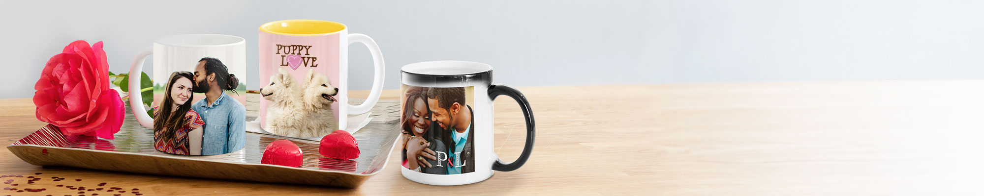Photo Mugs : Perfect for a morning cuppa, our range of personalised mugs make a cute Valentine's Day gift for the one you love.