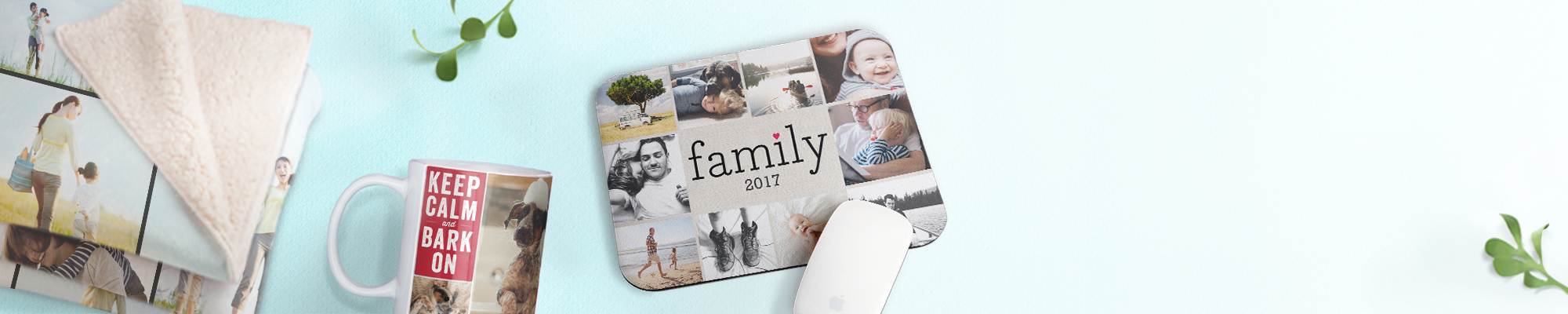 Collage Photo Gifts Make every photo count and create amazing collage prints, blankets, mousepads, and more!