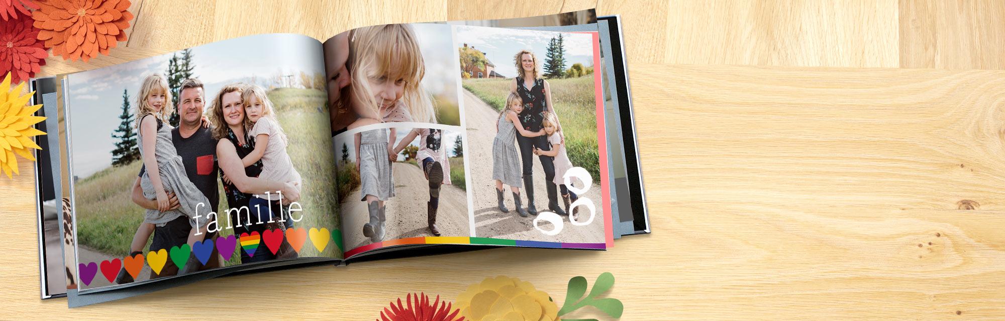 Livres Photo personnalisés Choisissez un de nos modèles et sélectionnez remplissage automatique pour ajouter vos photos.