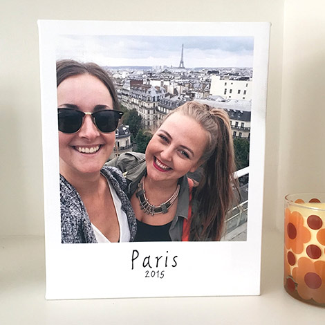 Remember your favourite holiday moments with a polaroid style canvas print.