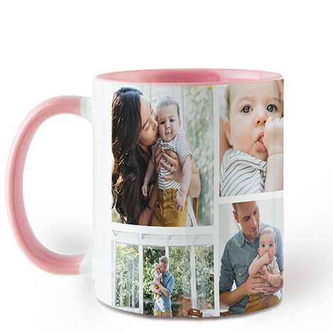 Icon Collage Pink Colorful Mug, 11 oz.