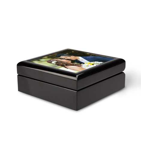 Icon Keepsake Wood Box, Black