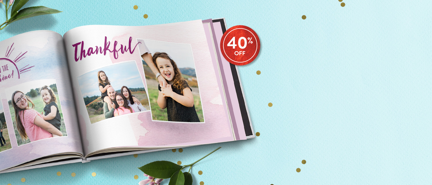 Tell your story : Save 40% on all Photo Books - includes extra pages!Use code 40BOOK418 by 22/4.